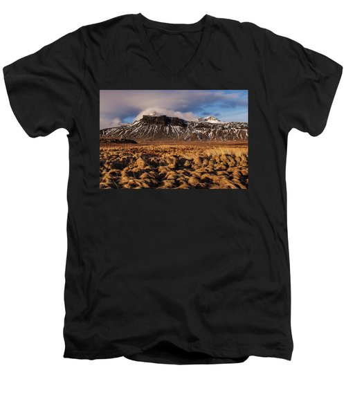 Mountain And Land, Iceland Men's V-Neck T-Shirt