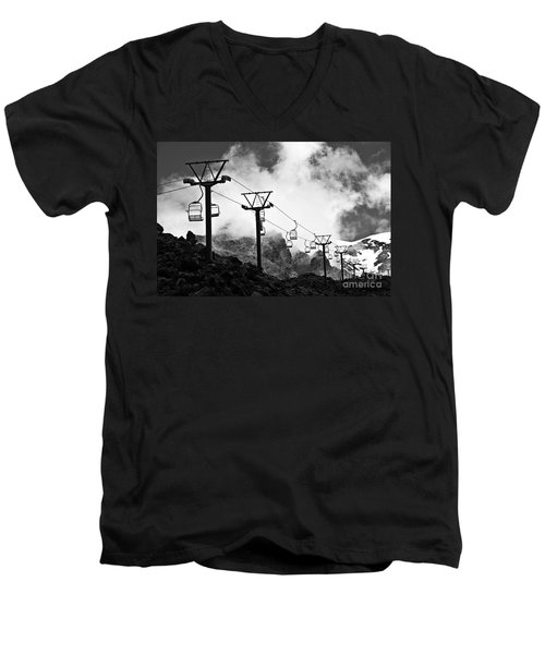 Men's V-Neck T-Shirt featuring the photograph Mountain Cable Road Waiting For Snow by Yurix Sardinelly