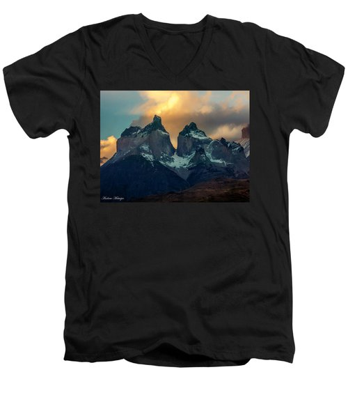 Mountain Evening Men's V-Neck T-Shirt by Andrew Matwijec
