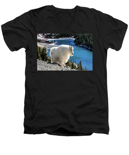 Mountain Goat At Lower Blue Lake Men's V-Neck T-Shirt