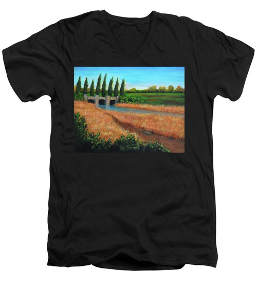 Mountain House In The Fall Men's V-Neck T-Shirt