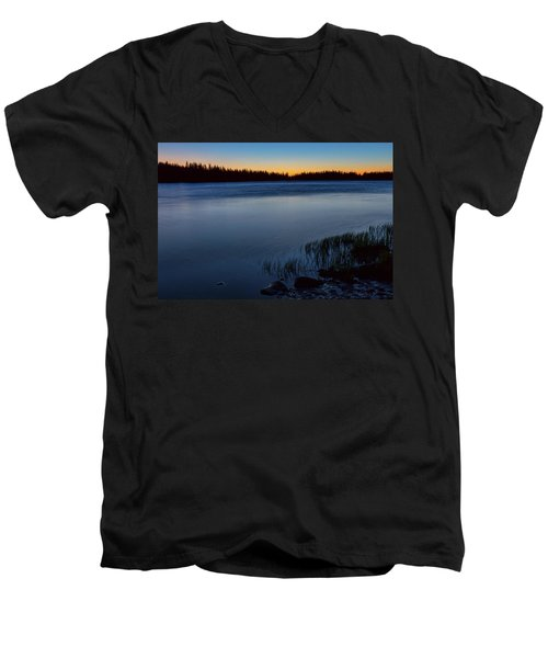 Men's V-Neck T-Shirt featuring the photograph Mountain Lake Glow by James BO Insogna