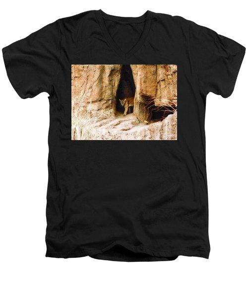 Mountain Lion In The Desert Men's V-Neck T-Shirt