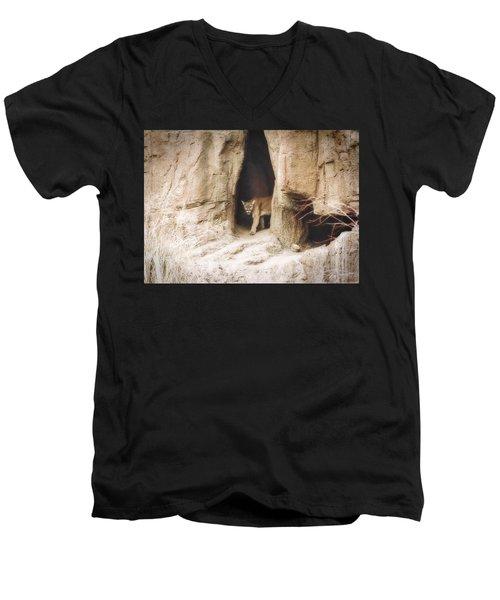 Mountain Lion - Light Men's V-Neck T-Shirt