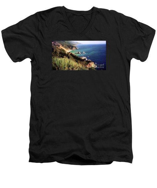 Mountain On Calif Pacific Ocean Men's V-Neck T-Shirt by Ted Pollard
