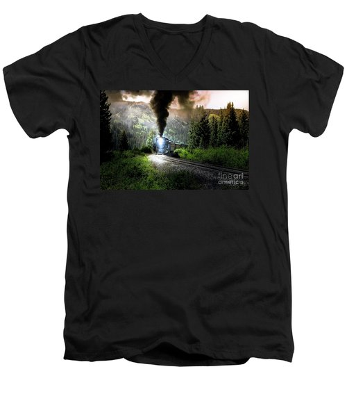 Men's V-Neck T-Shirt featuring the photograph Mountain Railway - Morning Whistle by Robert Frederick