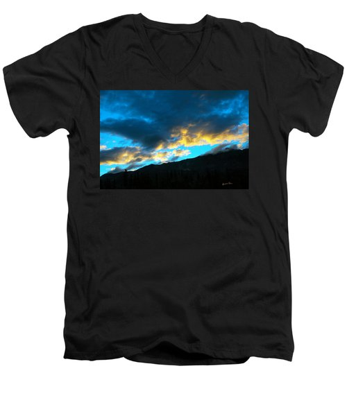Men's V-Neck T-Shirt featuring the photograph Mountain Silhouette by Madeline Ellis