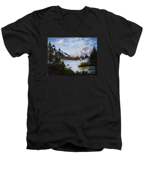 Men's V-Neck T-Shirt featuring the painting Mountain Splendor by Myrna Walsh