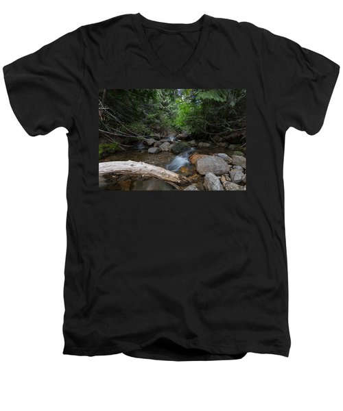 Men's V-Neck T-Shirt featuring the photograph Mountain Stream by Fran Riley