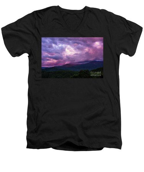 Mountain Sunset In The East Men's V-Neck T-Shirt