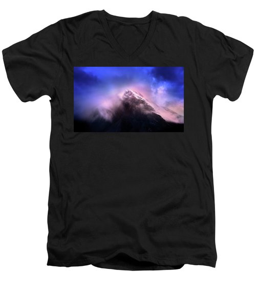 Men's V-Neck T-Shirt featuring the photograph Mountain Twilight by John Poon