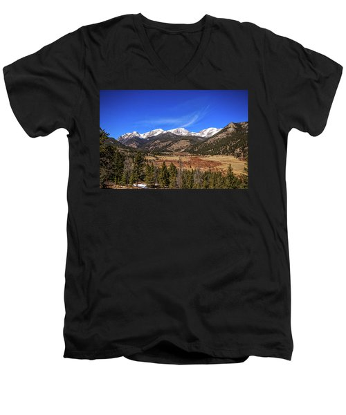 Men's V-Neck T-Shirt featuring the photograph Mountain View From Fall River Road In Rocky Mountain National Pa by Peter Ciro