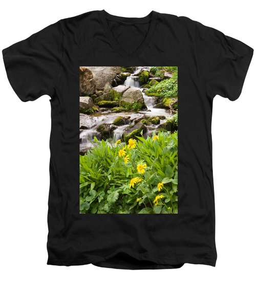 Mountain Waterfall And Wildflowers Men's V-Neck T-Shirt by Utah Images