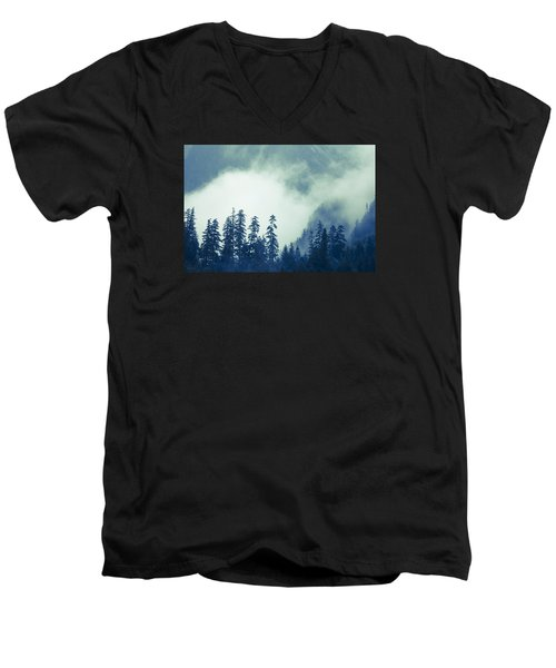 Mountains And Fog Men's V-Neck T-Shirt by Michele Cornelius