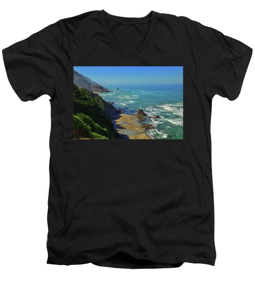 Mountains Meet The Sea Men's V-Neck T-Shirt