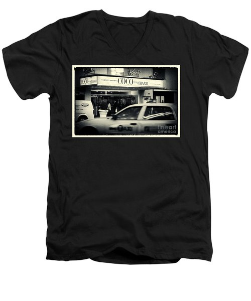 Movie Theatre Paris In New York City Men's V-Neck T-Shirt by Sabine Jacobs