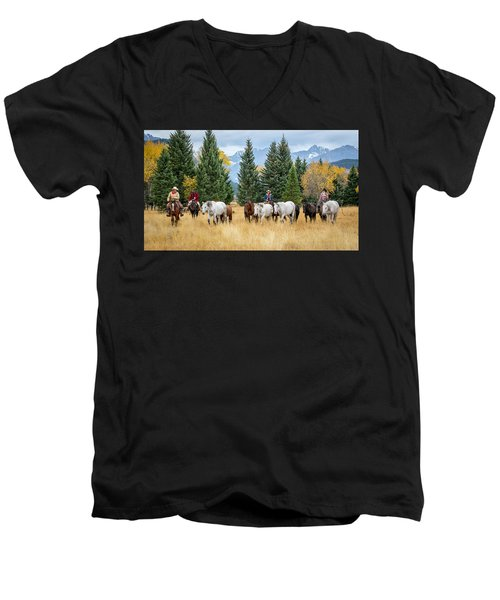 Moving The Herd Men's V-Neck T-Shirt by Jack Bell