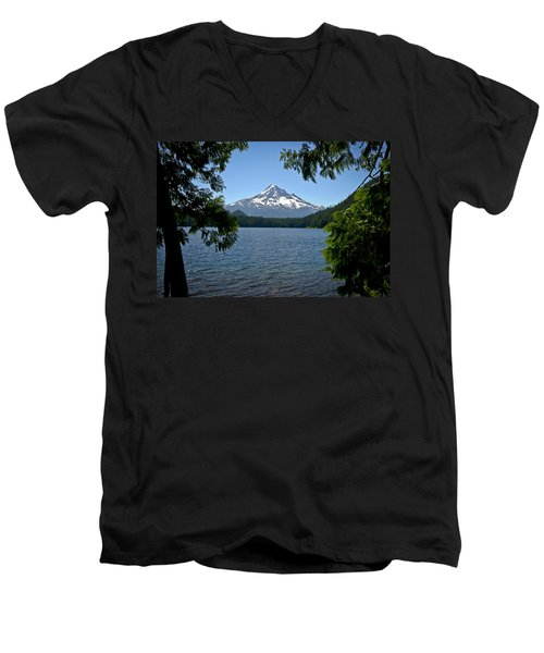 Mt Hood Over Lost Lake Men's V-Neck T-Shirt