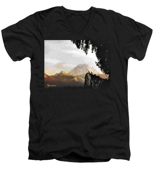 Mt. Rainier In Lace Men's V-Neck T-Shirt by Sadie Reneau