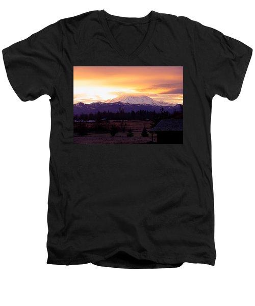 Mt. Rainier On Fire Men's V-Neck T-Shirt