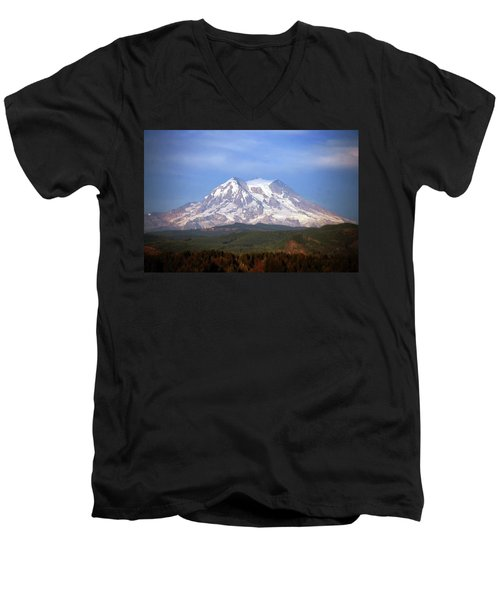 Men's V-Neck T-Shirt featuring the photograph Mt. Rainier by Sumoflam Photography