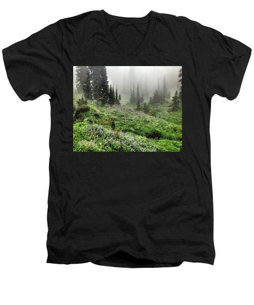 Mt Rainier Wildflowers Men's V-Neck T-Shirt