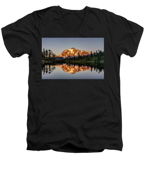 Mt Shuksan Reflection Men's V-Neck T-Shirt by Pierre Leclerc Photography