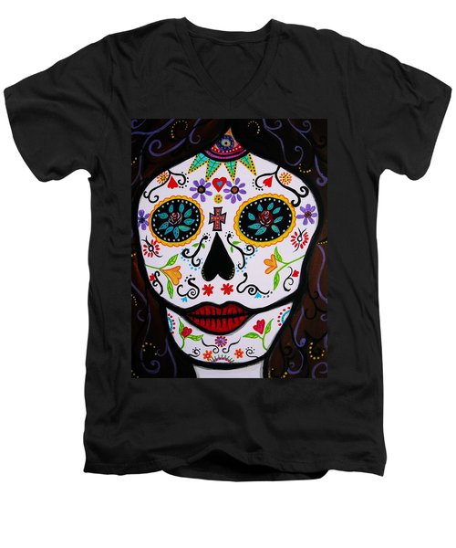Muertos Men's V-Neck T-Shirt by Pristine Cartera Turkus