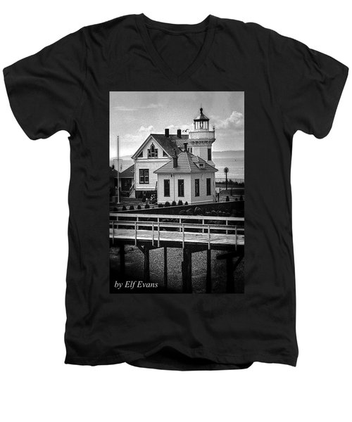 Men's V-Neck T-Shirt featuring the photograph Mukilteo Lighthouse by Elf Evans