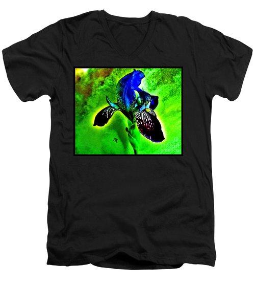 Multicolor Iris Men's V-Neck T-Shirt by Marsha Heiken
