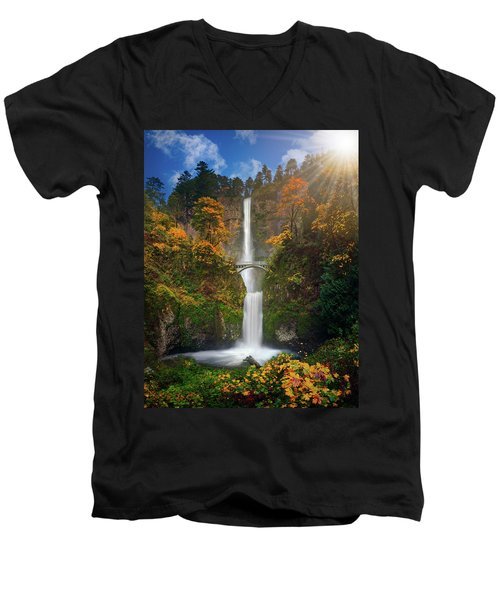 Multnomah Falls In Autumn Colors -panorama Men's V-Neck T-Shirt by William Lee