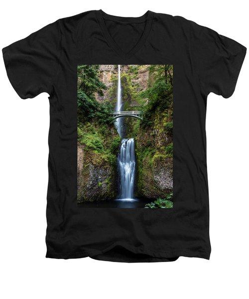 Men's V-Neck T-Shirt featuring the photograph Multnomah Falls by Pierre Leclerc Photography