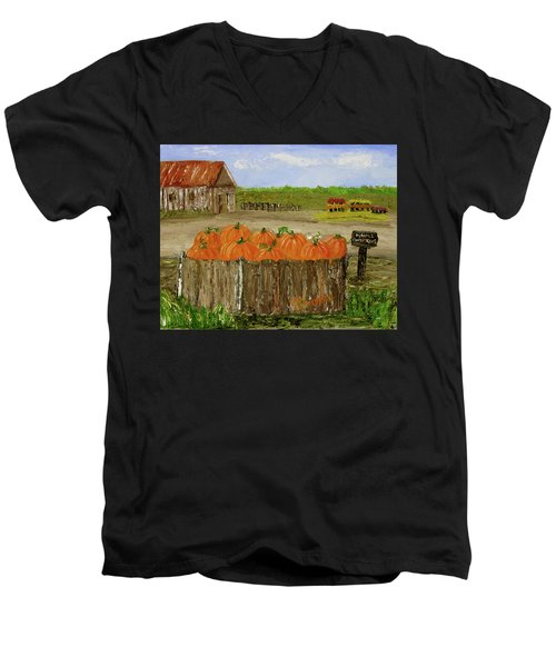 Mum And Pumpkin Harvest Men's V-Neck T-Shirt
