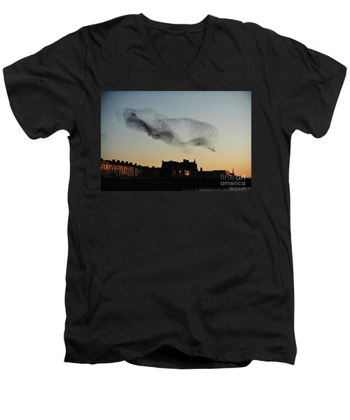 Murmuration Of Starlings Over Aberystwyth Wales Uk Men's V-Neck T-Shirt