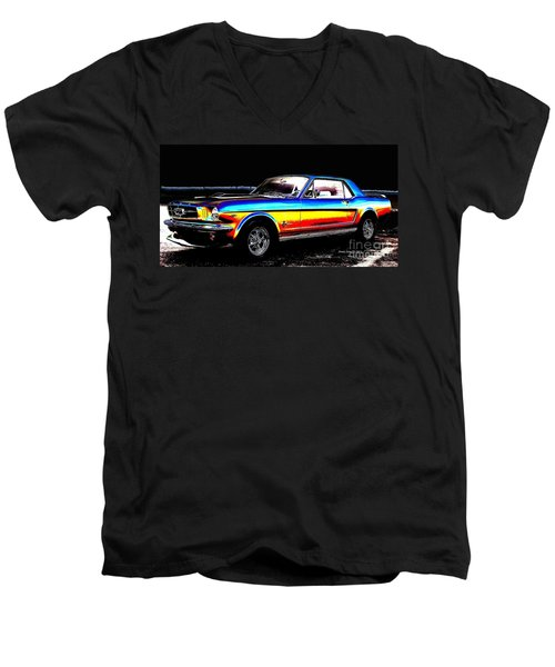 Muscle Car Mustang Men's V-Neck T-Shirt