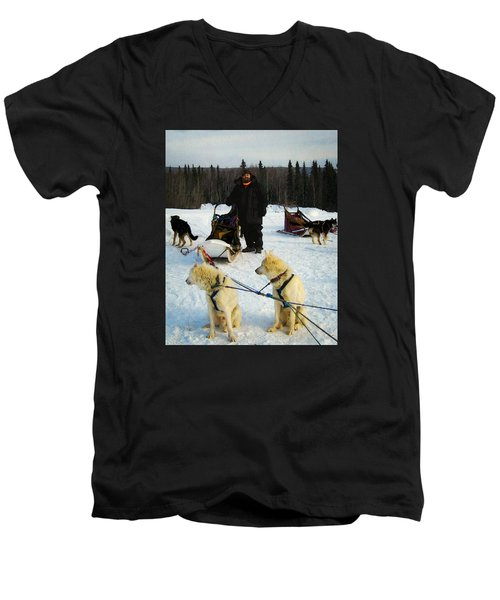 Men's V-Neck T-Shirt featuring the photograph Musher by Timothy Bulone