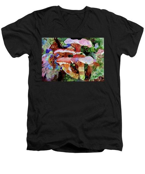 Mushroom Garden Men's V-Neck T-Shirt by Sandy McIntire
