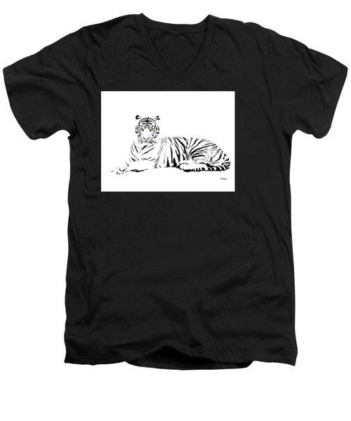 Men's V-Neck T-Shirt featuring the digital art Music Notes 25 by David Bridburg