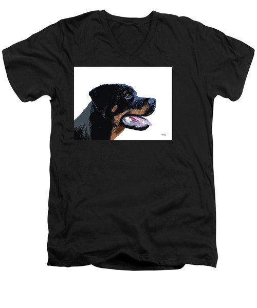 Men's V-Neck T-Shirt featuring the digital art Music Notes 33 by David Bridburg