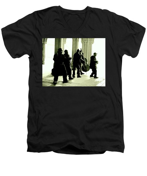 Musicians In The Park Men's V-Neck T-Shirt by Sandy Moulder