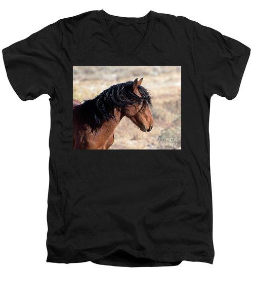 Mustang Men's V-Neck T-Shirt by Lula Adams