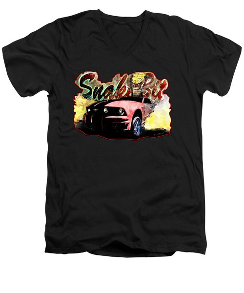 Mustanger Snakebit Burnout Hot Rod Art Men's V-Neck T-Shirt