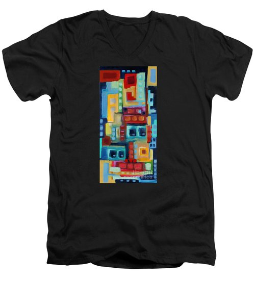 Men's V-Neck T-Shirt featuring the painting My Jazz N Blues 3 by Holly Carmichael