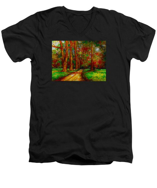 Men's V-Neck T-Shirt featuring the painting My Land by Emery Franklin