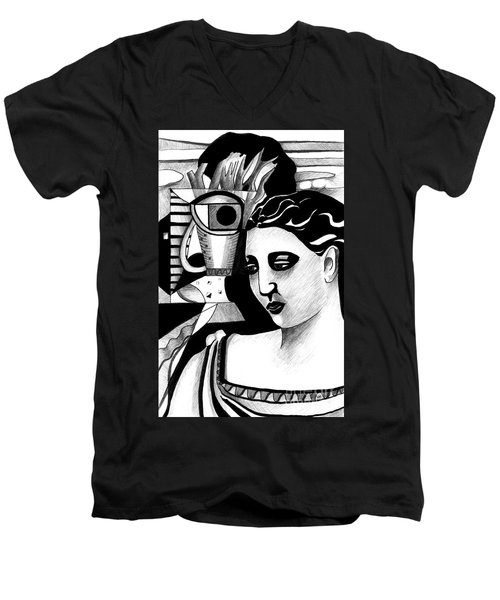 My Outing With A Young Woman By Picasso Men's V-Neck T-Shirt