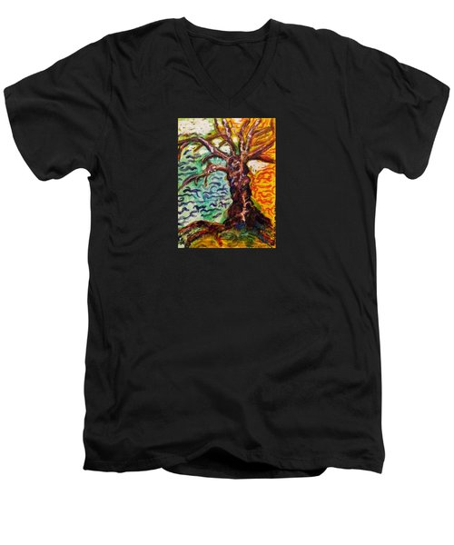 Men's V-Neck T-Shirt featuring the mixed media My Treefriend by Mimulux patricia no No