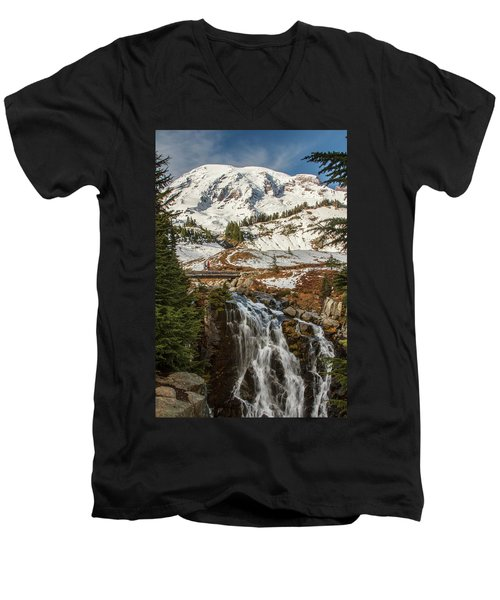Myrtle Falls, Mt Rainier Men's V-Neck T-Shirt