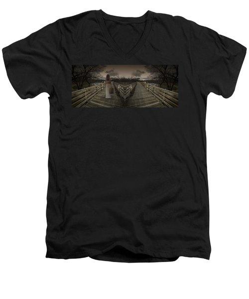 Mystic Bridge In A Dream World Men's V-Neck T-Shirt