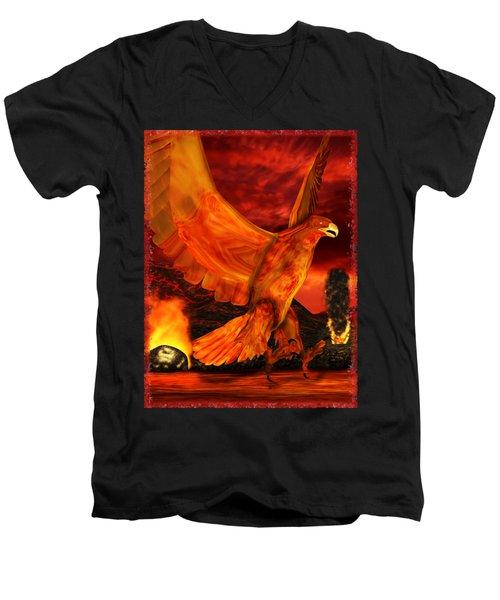 Myth Series 3 Phoenix Fire Men's V-Neck T-Shirt by Sharon and Renee Lozen