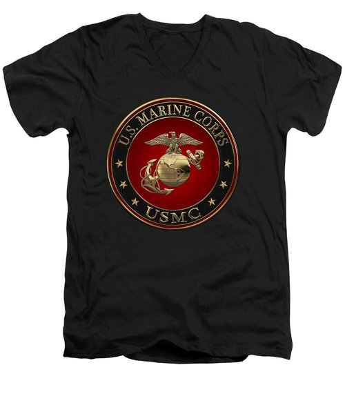 N C O And Enlisted E G A Special Edition Over Black Velvet Men's V-Neck T-Shirt